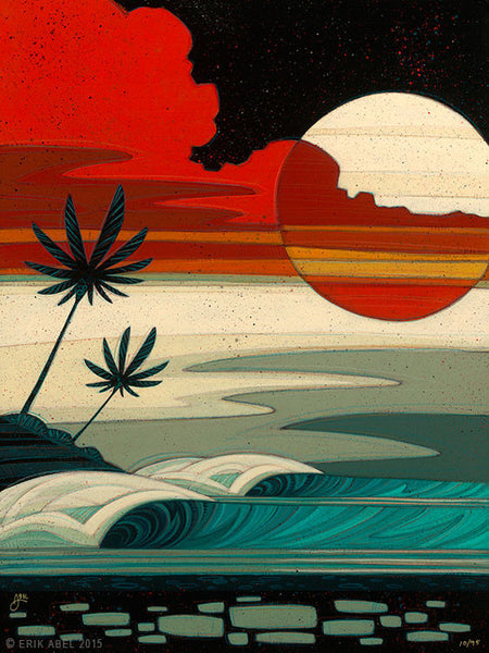 "Erik Abel Erik Abel Art ""Sunset Moonrise 2"" 24"" x 32""  Prints on Wood Limited S/N of 95 Prints on wood"