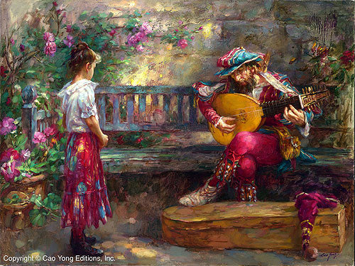 "CAO YONG ""Girl With Musician"" Limited Edition H/E CANVAS 20"" by 26.5"" - Art Center Gallery"