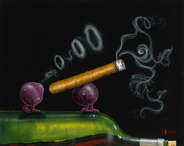 "Michael Godard ""Smoking Grapes"" 17.5 by 22 Limited Ed G Series 250 - Art Center Gallery"