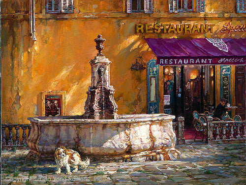 "CAO YONG ""Town Square, Tuscany"" LIMITED EDITION H/E CANVAS 18"" by 24"" - Art Center Gallery"