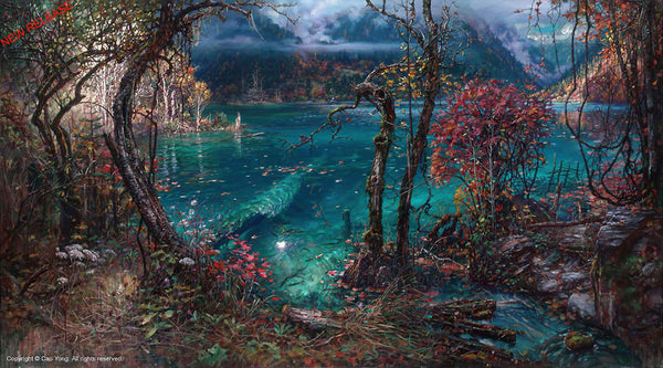 "Cao Yong CAO YONG ""Jiuzhaigou Valley III"" LIMITED EDITION H/E CANVAS 26.5"" by 48"" Paintings"