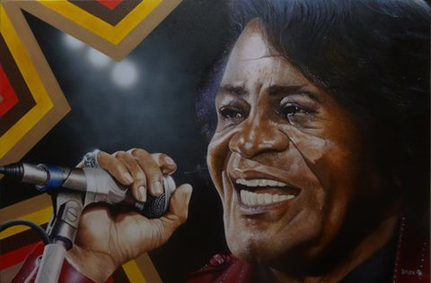 "Stickman Stickman ""I Got Soul and I'm Super Bad""  JAMES BROWN Ltd SE  Canvas Giclee  18"" by 24""  Ed of 150 Paintings"