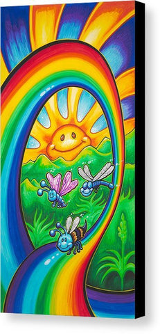 "Drew Brophy Art "" Happy Rainbow Ride"" S/N Limited edt Canvas 12"" x 24"" Edition of 250"