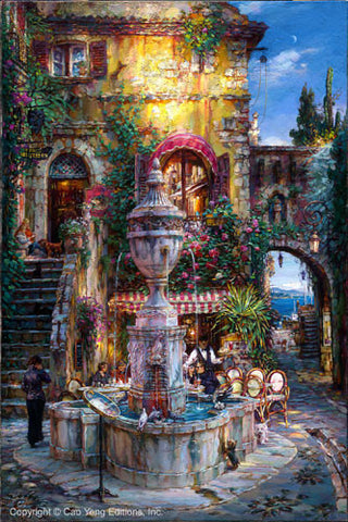 "Cao Yong CAO YONG ""Twilight by the Fountain"" LIMITED EDITION H/E CANVAS 30"" by 20"" Paintings"