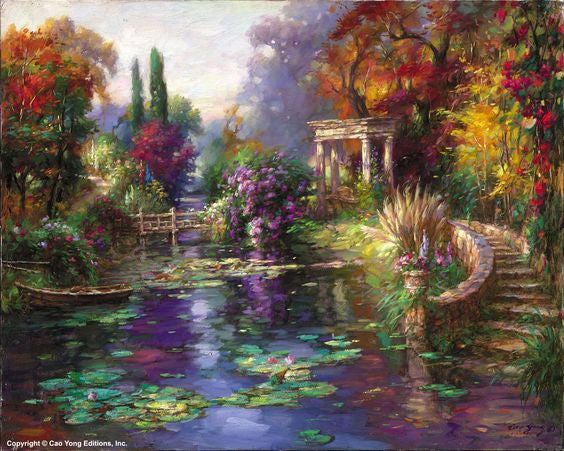 "CAO YONG ""Garden Pond"" Limited Edition H/E CANVAS 16"" by 20"" - Art Center Gallery"