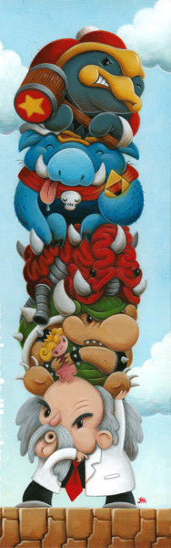 "Justin Hillgrove ""8-Bit Bosses""   10"" x 30"" Limited A/P Edition Canvas of 114 Paper and Canvas Giclee Print"
