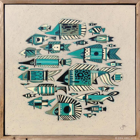 "Erik Abel Erik Abel Art ""Bait Ball""   24"" x 24""  Prints on Wood Limited SN of 95 Prints on wood"