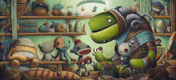 "Justin Hillgrove ""Mending"" 12"" x 24"" Limited A/P Paper Edition of  18 Canvas & Paper Giclees & Prints"