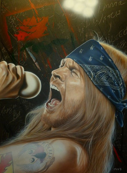 "Stickman Stickman ""I wanna watch you Bleed"" Axl Rose  Ltd SE  Canvas Giclee  18"" by 24""  Ed of 150 Canvas Giclee"