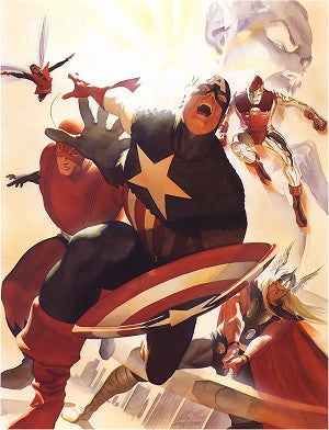 "Art Center Gallery Alex Ross Art ""AVENGERS #4, CAPTAIN AMERICA JOINS "" S/N mini edition giclees: 13"" x 19"" Edition of 100 Giclee Canvas Prints"