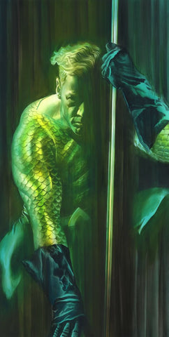 "Art Center Gallery Alex Ross Art ""SHADOWS :AQUAMAN"" S/N Canvas Giclee  33.50"" x 17.5"" Edition of 50 Giclee Canvas Prints"