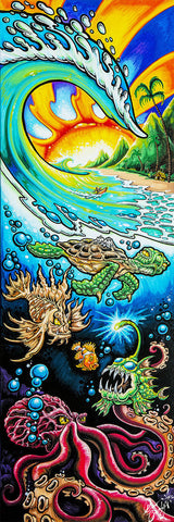 "Drew Brophy Art ""DEEP INTO PARADISE "" S/N Limited edt Canvas 10"" x  30"" Edition of 100"