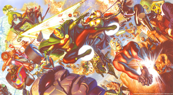 "Art Center Gallery Alex Ross Art ""NEW GODS, MAGNIFICENT SEVEN  "" A/P Canvas Giclee 22"" x 44"" Edition of 7 Giclee Canvas Prints"