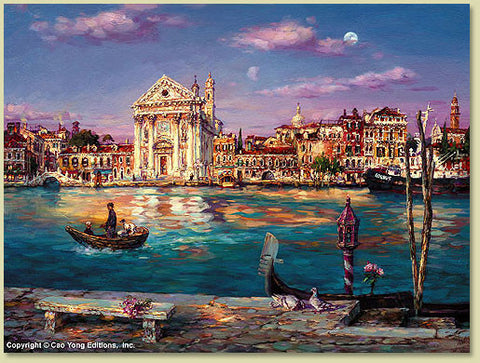 "Cao Yong CAO YONG ""Across the Canal"" LIMITED EDITION H/E CANVAS 18"" by 24"" Paintings"