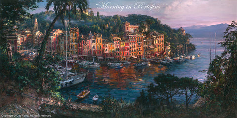 "Cao Yong ""Morning in Portofino"" Limited Edition Canvas Giclee"
