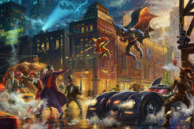 "Thomas Kinkade Studios ""Dark Night Saves Gotham"" Limited Edition Giclee"