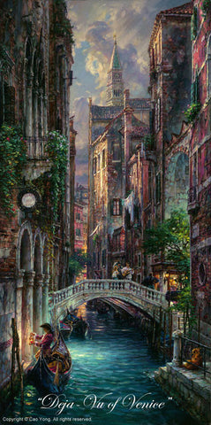 "Cao Yong CAO YONG ""Deja-Vu of Venice"" LIMITED EDITION H/E CANVAS 24"" by 12"" Paintings"