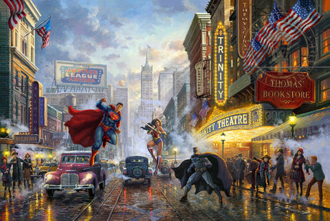 "Thomas Kinkade Studios ""Batman, Superman & Wonder Woman"" Limited Edition Giclee"