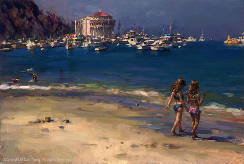 "Cao Yong CAO YONG ""Summer in Catalina"" LIMITED EDITION H/E CANVAS 20"" by 30"" Paintings"