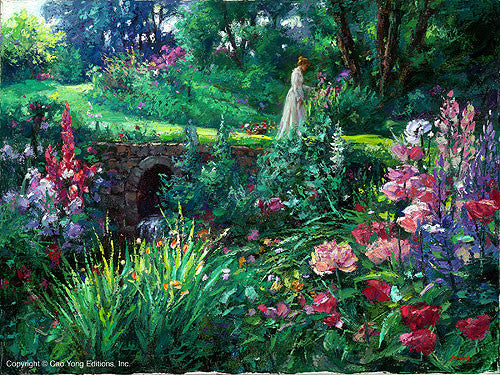 "CAO YONG ""A Walk in the Garden"" Limited Edition H/E CANVAS 18"" by 24"" - Art Center Gallery"