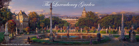 "Cao Yong CAO YONG ""The Luxembourg Garden"" Limited Edition H/E CANVAS 18"" by 54"" Paintings"
