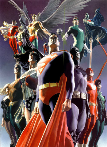 "Art Center Gallery Alex Ross Art ""JLA: SECRET ORIGINS"" S/N Canvas Giclee  32"" x 23.5"" Edition of 100 Giclee Canvas Prints"
