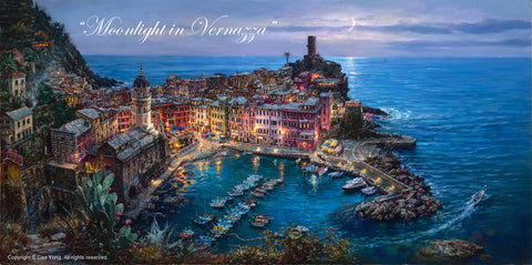 "Cao Yong ""Moonlit in Vernazza"" Limited Edition Canvas Giclee"