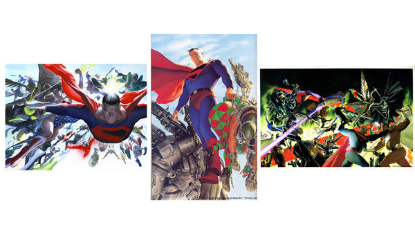 "Art Center Gallery Alex Ross Art ""KINGDOM COME: Set of 3 "" S/N 3 Paper Lithographs 20"" by 16"" Edition 50 Giclee Canvas Prints"