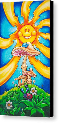 "Drew Brophy Art "" Happy Mushrooms"" S/N Limited edt Canvas 12"" x 24"" Edition of 250"