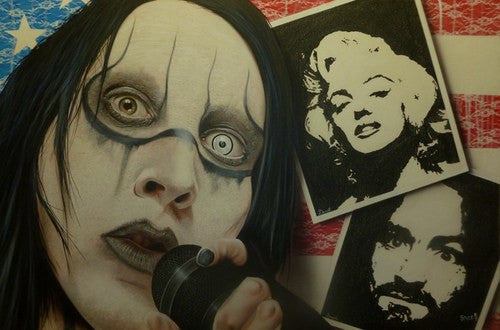 "Stickman ""I Wasn't Born with Enough Middle Fingers"" (Marilyn Manson) Limited Edition Canvas Giclee"