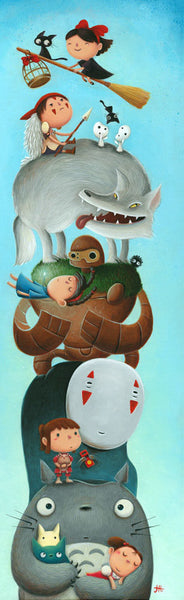 "Justin Hillgrove ""Miyazaki Totem 1""  Size 10"" x 30"" Limited A/P Edition Canvas of 114 Canvas Giclee"