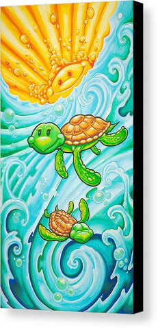 "Drew Brophy Art "" Happy Turtles"" S/N Limited edt Canvas 12"" x 24"" Edition of 250"
