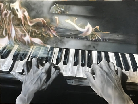 "Stickman ""I'm Real Nervous But It Sure is Fun"" (Flaming Piano) Limited Edition Canvas Giclee"