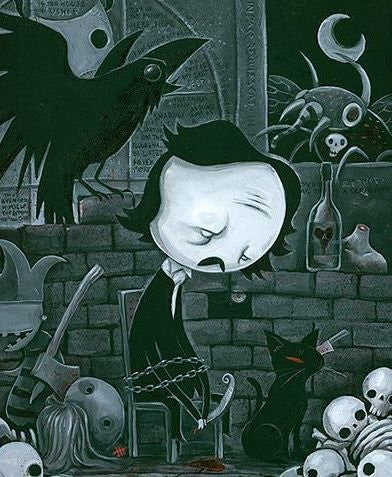 "Justin Hillgrove ""Edgar Allen Poe "" 12"" x 16"" Limited A/P Paper Edition of  18"