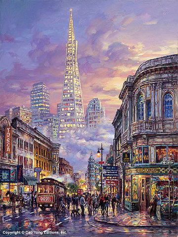 "Cao Yong CAO YONG ""Transamerica Pyramid"" LIMITED EDITION H/E CANVAS 24"" by 18"" Paintings"