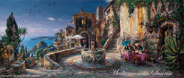 "CAO YONG ""Mediterranean Sunrise"" LIMITED EDITION H/E CANVAS 15"" by 35"" - Art Center Gallery"