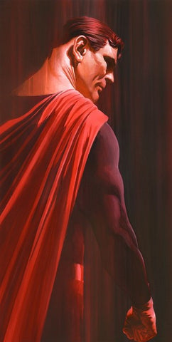 "Art Center Gallery Alex Ross Art ""SHADOW :SUPERMAN"" S/N Canvas Giclee  17.25"" x 34.75"" Edition of 50 Giclee Canvas Prints"