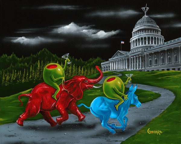 "Michael Godard ""Political Party Animal"" Limited Edition Canvas Giclee"