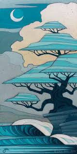"Erik Abel Erik Abel Art ""Bonsai Bliss "" 12"" x 24""  Prints on Wood Limited S/N of 95 Prints on wood"