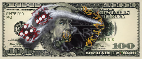"Michael Godard ""$100 Bill with Dice"" Limited Edition Paper Giclee"