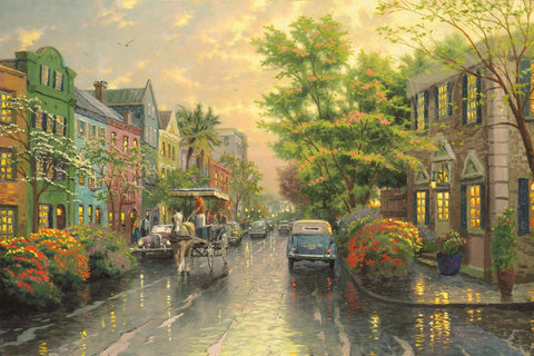 "Thomas Kinkade ""Charleston - Sunset on Rainbow Row"" Limited Edition Canvas Giclee"