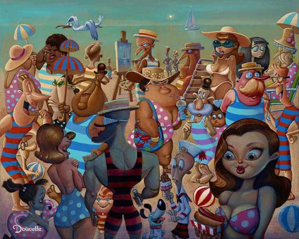 "Bob Doucette ""Public Beach"" - Limited Edition- 20"" by 20""- Canvas Giclee Prints Limited Edition Canvas Giclee"