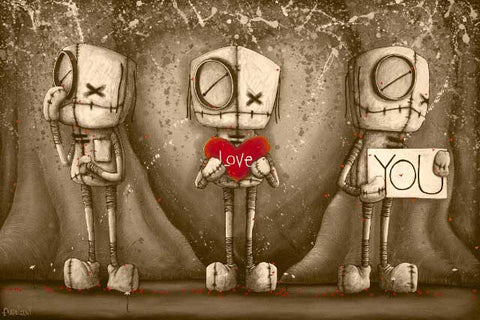"Fabio Napoleoni-"" I love you- Sepia""- Limited Edition of 47- 24"" by 36""- Canvas Giclee Print. - Art Center Gallery"