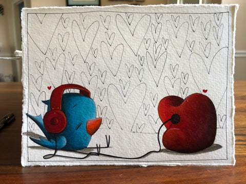 "Fabio Napoleoni ""Sounds of Nostalgia"" Original Pen and Ink"