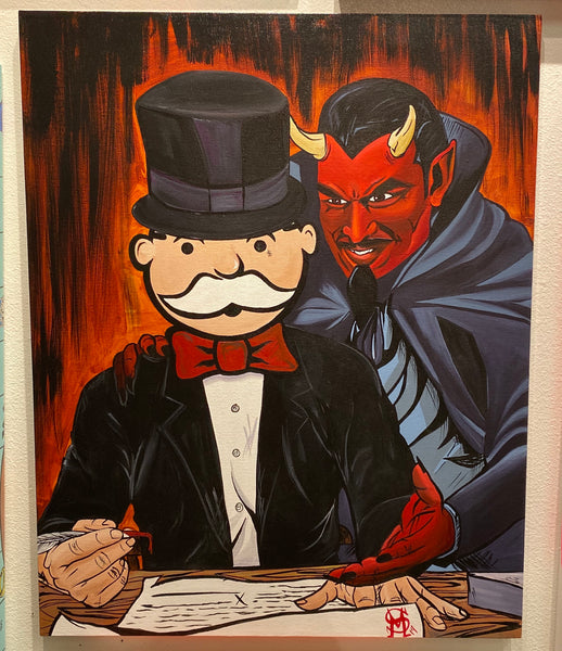 "Sinister Monopoly ""Deal with Devil"" Original Canvas"
