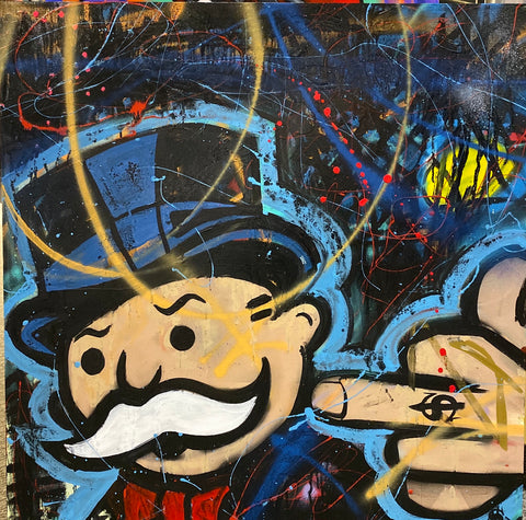 "Sinister Monopoly ""FTW"" Original on canvas"