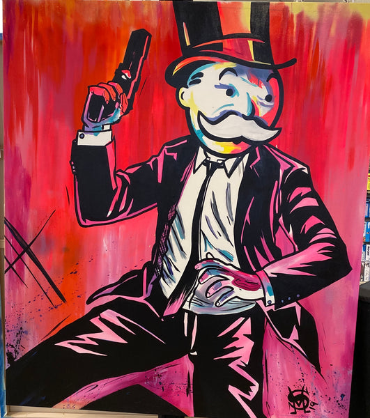 "Sinister Monopoly ""Sneak Attack"" Original Canvas"
