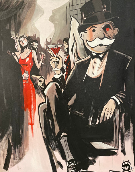 "Sinister Monopoly ""Blood Martini"" Original Canvas"