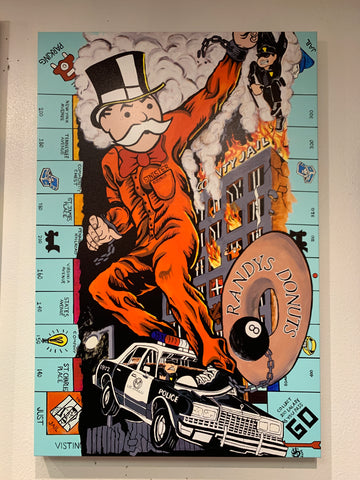 "Sinister Monopoly ""Just Visiting"" Original on Canvas"