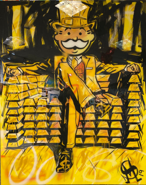 "Sinister Monopoly ""Stay Golden"" Original Canvas"